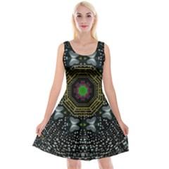 Leaf Earth And Heart Butterflies In The Universe Reversible Velvet Sleeveless Dress