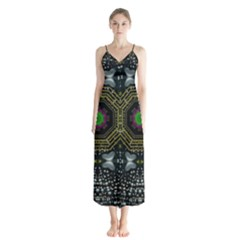 Leaf Earth And Heart Butterflies In The Universe Button Up Chiffon Maxi Dress