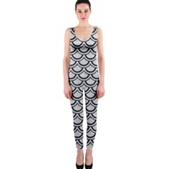 Scales2 Black Marble & Silver Glitter Onepiece Catsuit