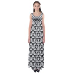 Scales2 Black Marble & Silver Glitter Empire Waist Maxi Dress