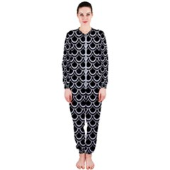 Scales2 Black Marble & Silver Glitter (r) Onepiece Jumpsuit (ladies)