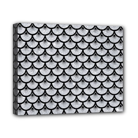 Scales3 Black Marble & Silver Glitter Canvas 10  X 8