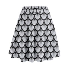 Scales3 Black Marble & Silver Glitter High Waist Skirt