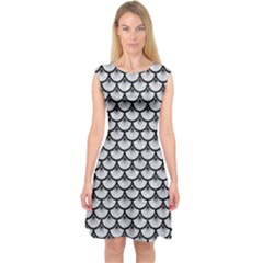 Scales3 Black Marble & Silver Glitter Capsleeve Midi Dress