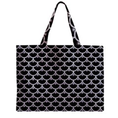 Scales3 Black Marble & Silver Glitter (r) Zipper Mini Tote Bag