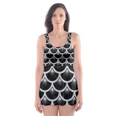 Scales3 Black Marble & Silver Glitter (r) Skater Dress Swimsuit