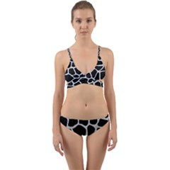 Skin1 Black Marble & Silver Glitter Wrap Around Bikini Set
