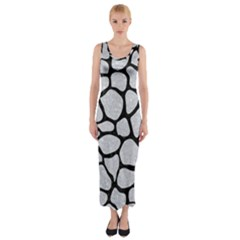 Skin1 Black Marble & Silver Glitter (r) Fitted Maxi Dress