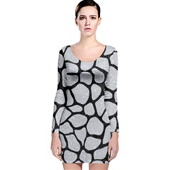 Skin1 Black Marble & Silver Glitter (r) Long Sleeve Velvet Bodycon Dress