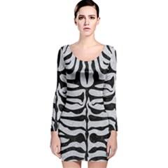 Skin2 Black Marble & Silver Glitter Long Sleeve Velvet Bodycon Dress