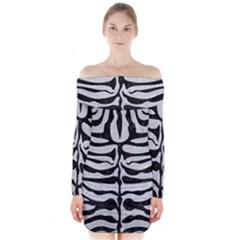 Skin2 Black Marble & Silver Glitter Long Sleeve Off Shoulder Dress