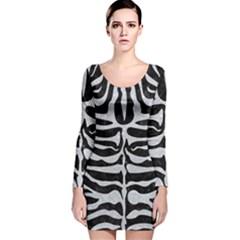 Skin2 Black Marble & Silver Glitter (r) Long Sleeve Velvet Bodycon Dress