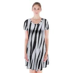 Skin3 Black Marble & Silver Glitter Short Sleeve V Neck Flare Dress