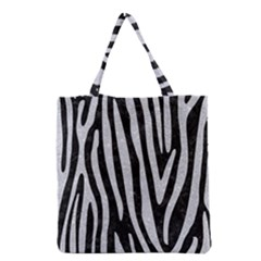 Skin4 Black Marble & Silver Glitter Grocery Tote Bag