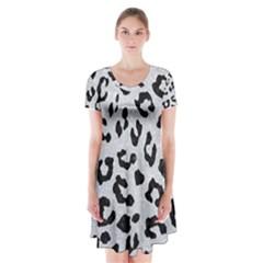 Skin5 Black Marble & Silver Glitter (r) Short Sleeve V Neck Flare Dress