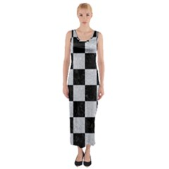 Square1 Black Marble & Silver Glitter Fitted Maxi Dress