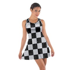 Square1 Black Marble & Silver Glitter Cotton Racerback Dress