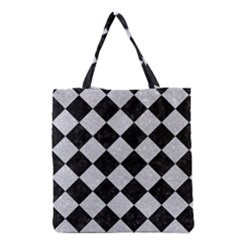 Square2 Black Marble & Silver Glitter Grocery Tote Bag