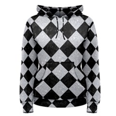 Square2 Black Marble & Silver Glitter Women s Pullover Hoodie