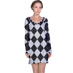 Square2 Black Marble & Silver Glitter Long Sleeve Nightdress