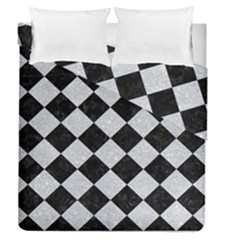 Square2 Black Marble & Silver Glitter Duvet Cover Double Side (queen Size)