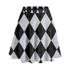 Square2 Black Marble & Silver Glitter High Waist Skirt