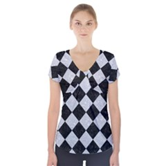 Square2 Black Marble & Silver Glitter Short Sleeve Front Detail Top