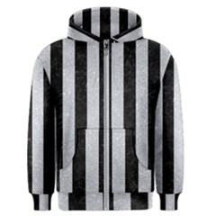 Stripes1 Black Marble & Silver Glitter Men s Zipper Hoodie