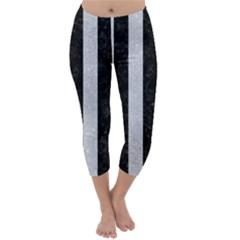 Stripes1 Black Marble & Silver Glitter Capri Winter Leggings
