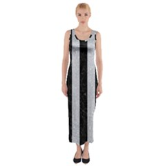 Stripes1 Black Marble & Silver Glitter Fitted Maxi Dress