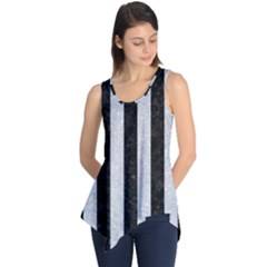 Stripes1 Black Marble & Silver Glitter Sleeveless Tunic