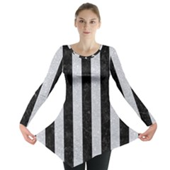 Stripes1 Black Marble & Silver Glitter Long Sleeve Tunic