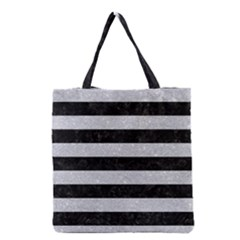 Stripes2 Black Marble & Silver Glitter Grocery Tote Bag