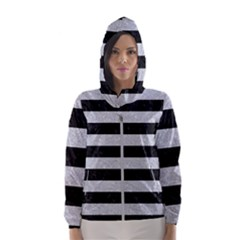 Stripes2 Black Marble & Silver Glitter Hooded Wind Breaker (women)