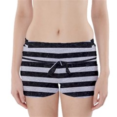 Stripes2 Black Marble & Silver Glitter Boyleg Bikini Wrap Bottoms