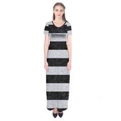 Stripes2 Black Marble & Silver Glitter Short Sleeve Maxi Dress