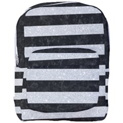 Stripes2 Black Marble & Silver Glitter Full Print Backpack