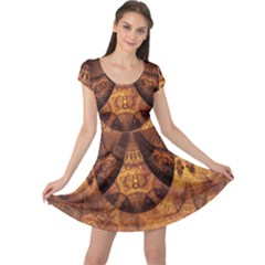 Beautiful Gold And Brown Honeycomb Fractal Beehive Cap Sleeve Dress