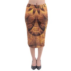 Beautiful Gold And Brown Honeycomb Fractal Beehive Midi Pencil Skirt