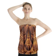 Beautiful Gold And Brown Honeycomb Fractal Beehive Strapless Top