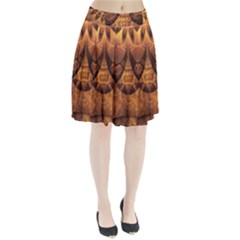 Beautiful Gold And Brown Honeycomb Fractal Beehive Pleated Skirt