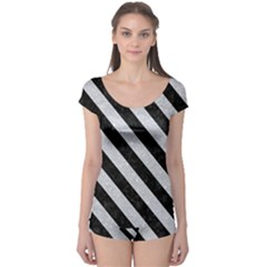 Stripes3 Black Marble & Silver Glitter Boyleg Leotard