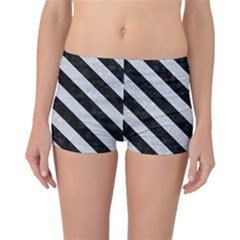 Stripes3 Black Marble & Silver Glitter Reversible Boyleg Bikini Bottoms