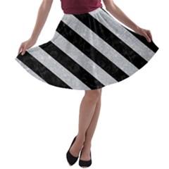 Stripes3 Black Marble & Silver Glitter A Line Skater Skirt