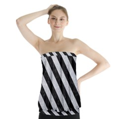 Stripes3 Black Marble & Silver Glitter Strapless Top