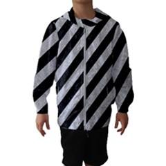 Stripes3 Black Marble & Silver Glitter (r) Hooded Wind Breaker (kids)