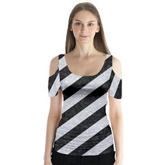 Stripes3 Black Marble & Silver Glitter (r) Butterfly Sleeve Cutout Tee