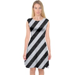 Stripes3 Black Marble & Silver Glitter (r) Capsleeve Midi Dress