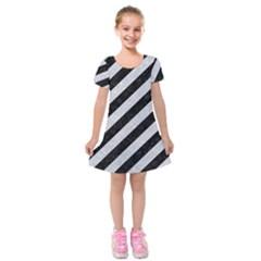 Stripes3 Black Marble & Silver Glitter (r) Kids  Short Sleeve Velvet Dress