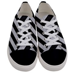 Stripes3 Black Marble & Silver Glitter (r) Women s Low Top Canvas Sneakers